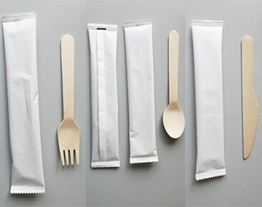 Paper Wrapped Disposable Wooden Cutlery Wholesale