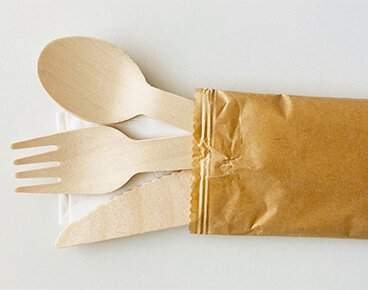 Wooden Cutlery Set with Napkin